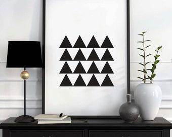 Geometric Art Printable, Abstract Wall Art, Home Decor, Scandinavian Print, Modern Wall Art, Minimalist Art, Geometric Print, Black White