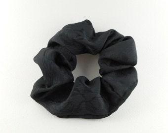 Scrunchie -  delicate  flower motif - satin style black