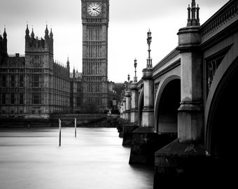 London Black And White Print - Big Ben Print, Westminster Print, London Monochrome Print - London Photography Print