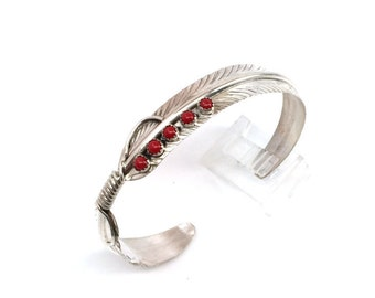 Handmade Native American Navajo Sterling Silver Feather Coral Cuff Bracelet