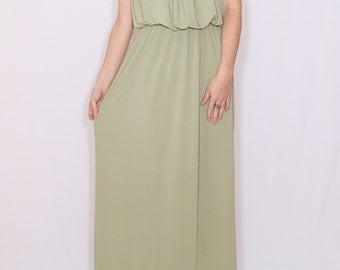 Sage green dress Bridesmaid dress Pale green Long maxi dress