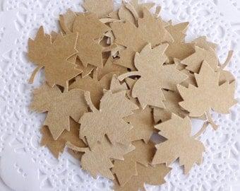 Kraft Autumn Leaves, Fall Kraft Confetti, Maple Leaves, Thanksgiving Decor, Fall in Love Bridal Shower, Fall Wedding