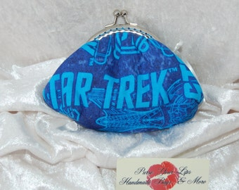 The Evie Star Trek frame purse wallet coin purse hand stitched silver metal frame kiss clasp turquoise lining handmade in England