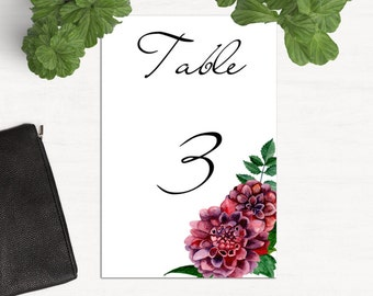 Dahlia wedding table numbers Instant download Flowers table numbers template Floral wedding burgundy Table cards maroon printable 1W19