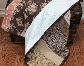 Dusty Rose and Beige Quilt