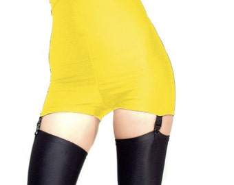 High waisted Yellow spandex shorts hot pants  black suspenders