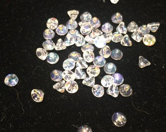 Button Beads, 4mm, Crystal Aurora Borealis, 00030-28701, 50 Beads, Czech Glass