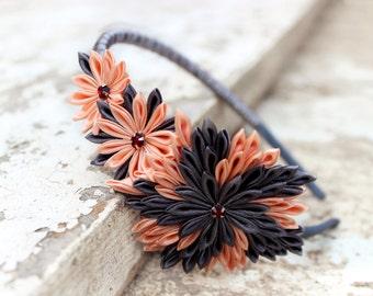 Peach headband Gray flower accessory Rustic crown Kanzashi headband for women Gift ideas Bridal wreath Spring wedding Summer adult headband