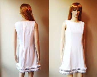 Mod dress 60s vintage sixties scooter dress handmade mad men mid century white with navy ruffle trim spring summer