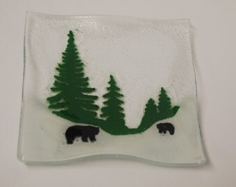 Fused  Glass Plate with Trees, Bears, and Snow