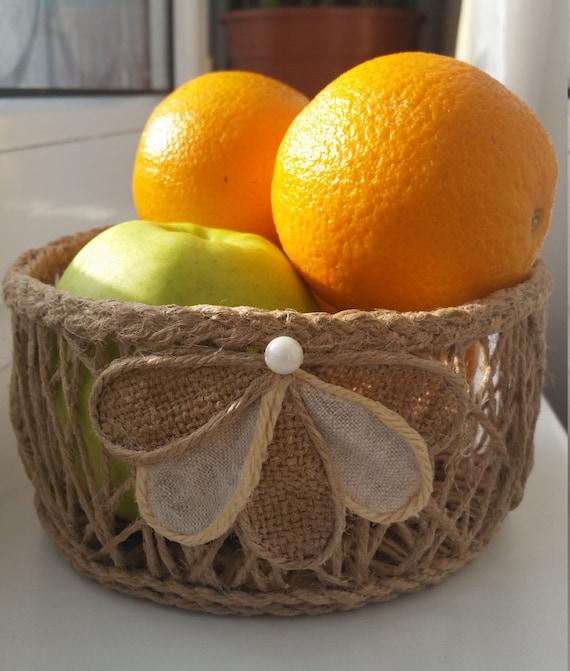 Small Jute Basket, Fruit & Vegetables Storage, Rustic Décor, Natural Basket, Storage Basket