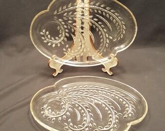Set of 2 Vintage Glass Punch Cup Dip Plates Vine Design