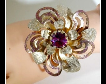 Gorgeous Giant Brass Flower attached to a Vintage Bangle Style Bracelet with a Hinge