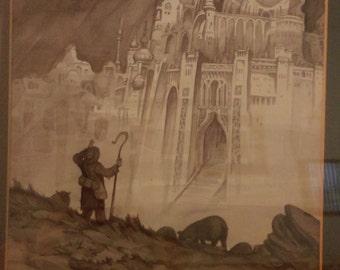 Tim Kirk (Disney Imagineer) Original 1970 pencil ink wash He did hobbit calendar