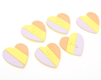 Fondant Rainbow Heart Cupcake Toppers - set of 12