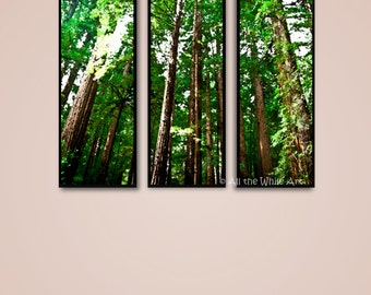 Framed 'Sea of Trees' Abstract Forest Prints - Contemporary Wall Decor - Set of 3 Multiple Sizes Available