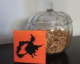 sale halloween witch mini canvas halloween decorations witch on broomstick small halloween