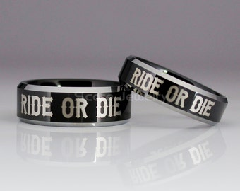 2 Piece Couple Set Black Tungsten Bands with Beveled Edge Ride Or Die Ring- 8mm & 6mm Tungsten Rings