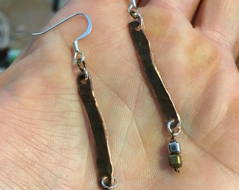 Hammered copper wedgel with silver and gold beads