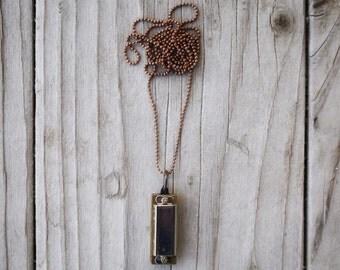 Antique Silver Harmonica Necklace