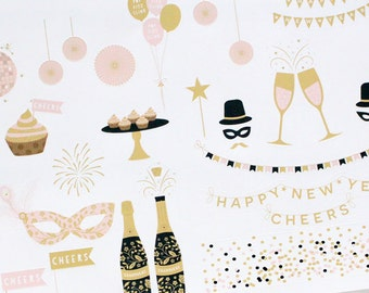 Planner Stickers New Years Eve Variety for Erin Condren, Happy Planner, Filofax, Scrapbooking