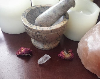 """3 """" Soapstone Mortar and Pestle ~ Grinding Herbs and Flowers ~ Apothecary ~ Meditation ~ Sacred Space ~ Kitchen use ~ Wiccan ~ Pagan"""