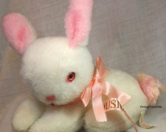 Vintage Rushton Musical Stuffed Plush Rabbit Doll