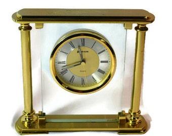 Vintage Clock, Benchmark Clock, Mantel, Quartz Clock, Gold Table Clock, Gold Decor, Time Piece, Gold Alarm Clock, Shelf Decor, Benchmark
