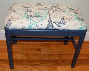 Wood Bench or Vanity Stool with Upoholstered Seat