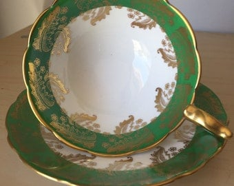 Royal Stafford China, Vintage Teacup and Saucer, Green & Gold Leaf Flower Garland Tea Cup and Saucer, 1950s, Birthday Gift