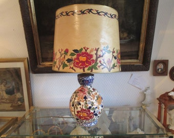 Faience of Gien lamp decor Peony Lampshade matching - 20631