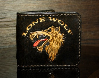 Handmade hand-carved  leather wallet, men's wallet Lone Wolf