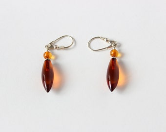 Silver 925 and Amber Tear Drop Earrings