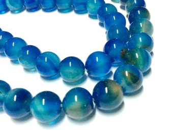 8mm Blue Space Glass Beads - 15.5inch Full strand - Round Gemstone Beads