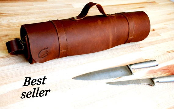 brown leather knife roll chef leather tool bag gifts for. Black Bedroom Furniture Sets. Home Design Ideas