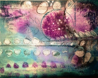 Purple flowers and ferns original mixed media wall art work