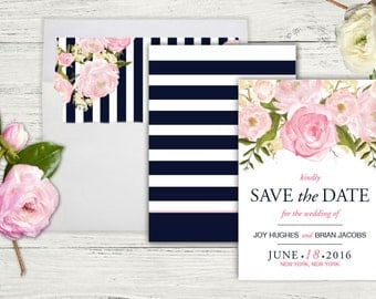 Inspired By Kate Save The Dateu2013Navy U0026 Pink, Birthday, Bridal Shower,