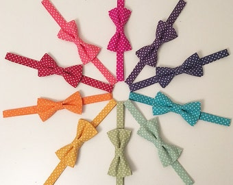 Rainbow Polka Dot Cotton Print Handmade Men's Bow Ties - other colours available