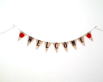 Welcome Burlap Banner, Teacher Classroom Decoration Apple School Decor First Day of School, Back to School Garland, Baby Shower Banner Decor