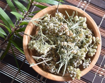 Organic Yarrow Flowers Loose, Dried, Cut & Sifted 1 oz