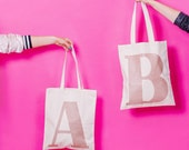 Monogrammed Tote - Gift Idea for Girls - Rose Gold Glitter - Initial Tote Bag - Alphabet Bags