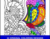 Mini Book Patterns Coloring Pages - PDF INSTANT DOWNLOAD - Adult Coloring - 24 Original Coloring Pages