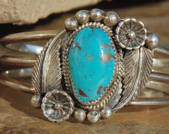 Tommy Lowe ~ Navajo Sterling Silver and Turquoise Feather Cuff Bracelet