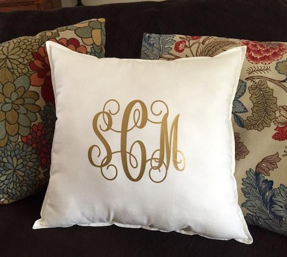 Linen Monogram Throw Pillow: Monogram Pillow Monogrammed Throw Pillow Square Throw