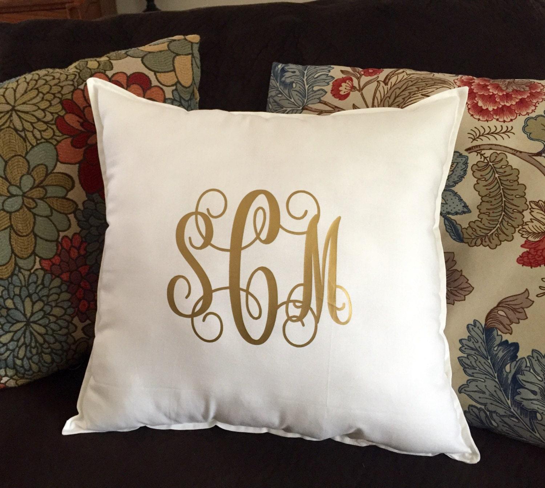 Monogram Throw Pillow Etsy : Monogram Pillow Monogrammed Throw Pillow Square Throw