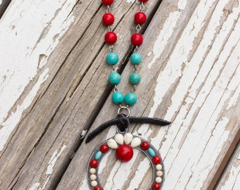 Squash Blossom Necklace with Leather
