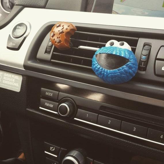 items similar to cookie monster cookie handmade car vent clip car air freshener car. Black Bedroom Furniture Sets. Home Design Ideas