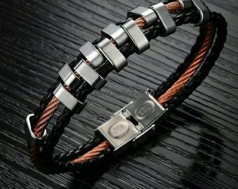 Bracelet man stainless steel, leather weaves black, gift idea.