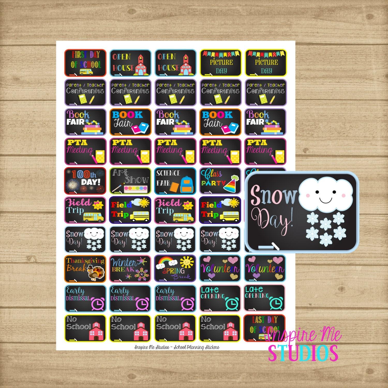 Calendar Planner Reminder Stickers : School event reminder planner sticker