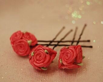 Pink flower girl hair pin. Mini pink rose flower bouquet. Pink wedding bridesmaid bobby pin. Satin ribbon ball of flowers u pins.